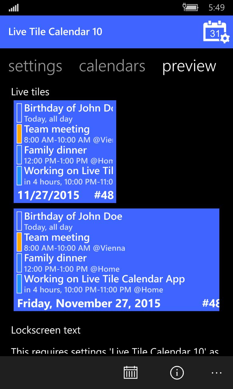 Calendar Lockscreen : Live tile calendar universal windows platform app